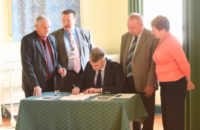 James Cartlidge MP signing Sudbury Bypass Petition