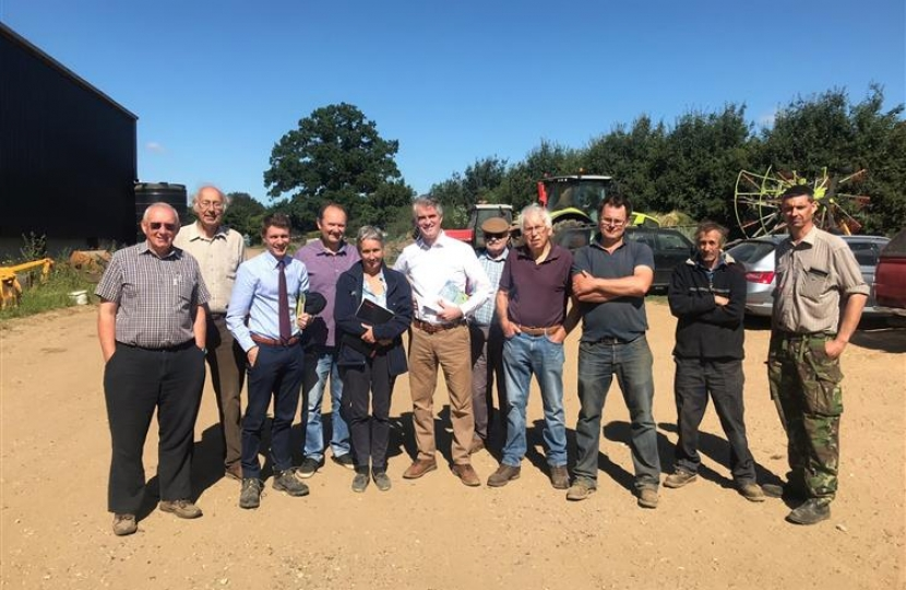 James Cartlidge, the MP for South Suffolk, meets members of the National Farmers Union (NFU) in Polstead.